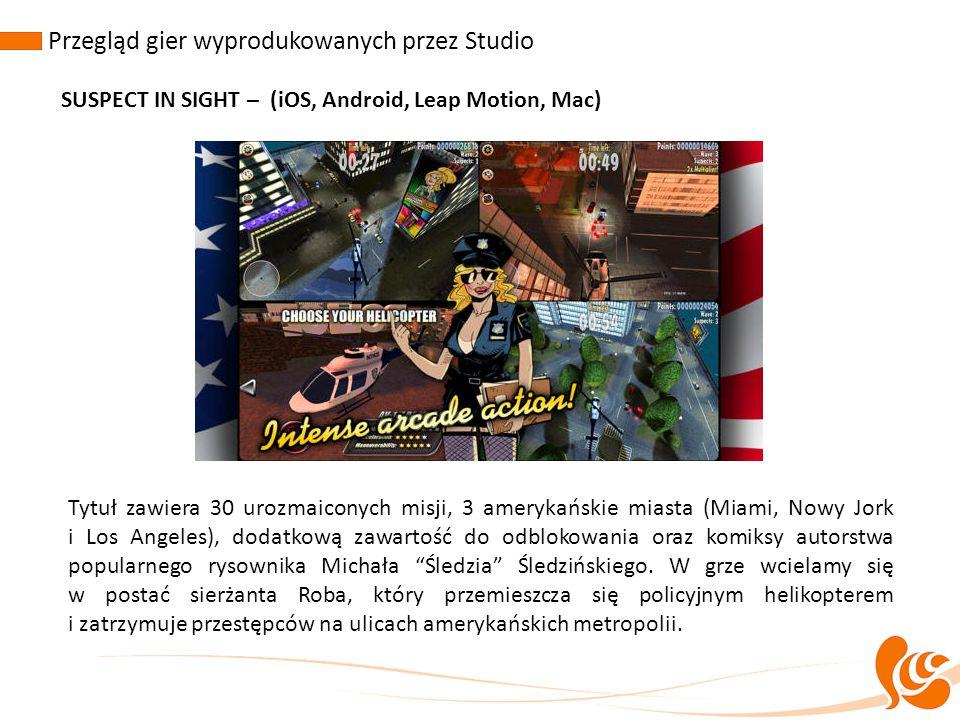 Przegląd gier wyprodukowanych przez Studio SUSPECT IN SIGHT – (iOS, Android, Leap Motion, Mac) Tytuł zawiera 30 urozmaiconych misji, 3 amerykańskie mi