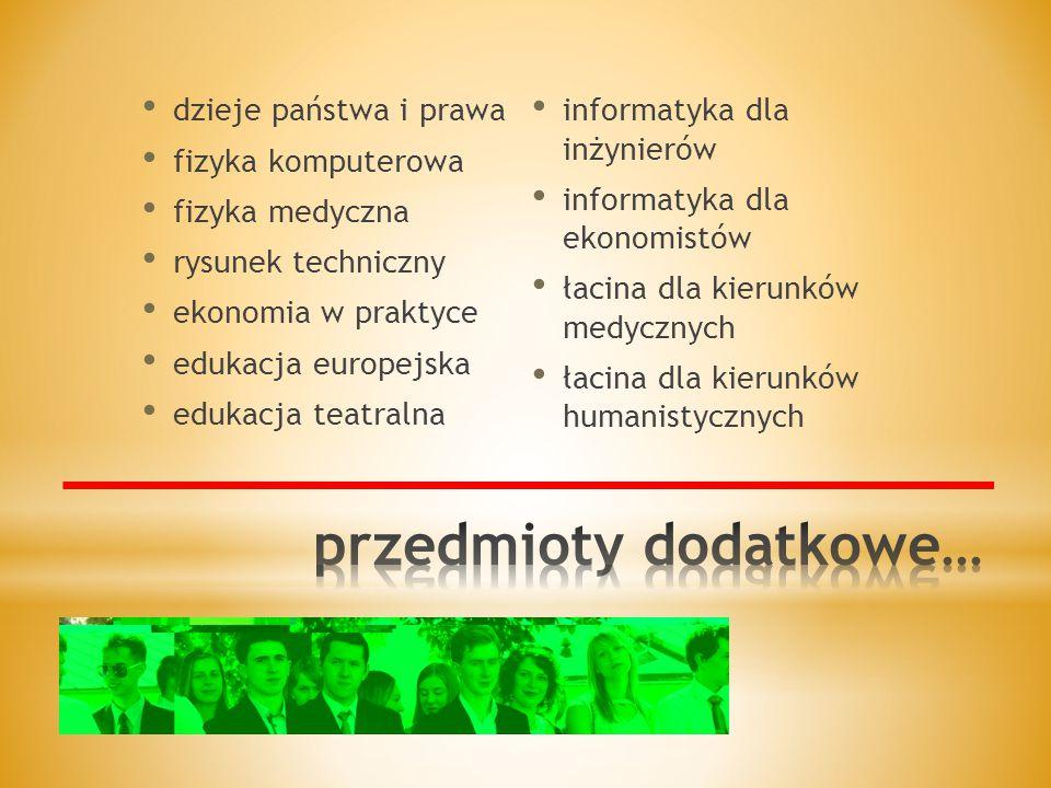 dzieje państwa i prawa fizyka komputerowa fizyka medyczna rysunek techniczny ekonomia w praktyce edukacja europejska edukacja teatralna informatyka dla inżynierów informatyka dla ekonomistów łacina dla kierunków medycznych łacina dla kierunków humanistycznych