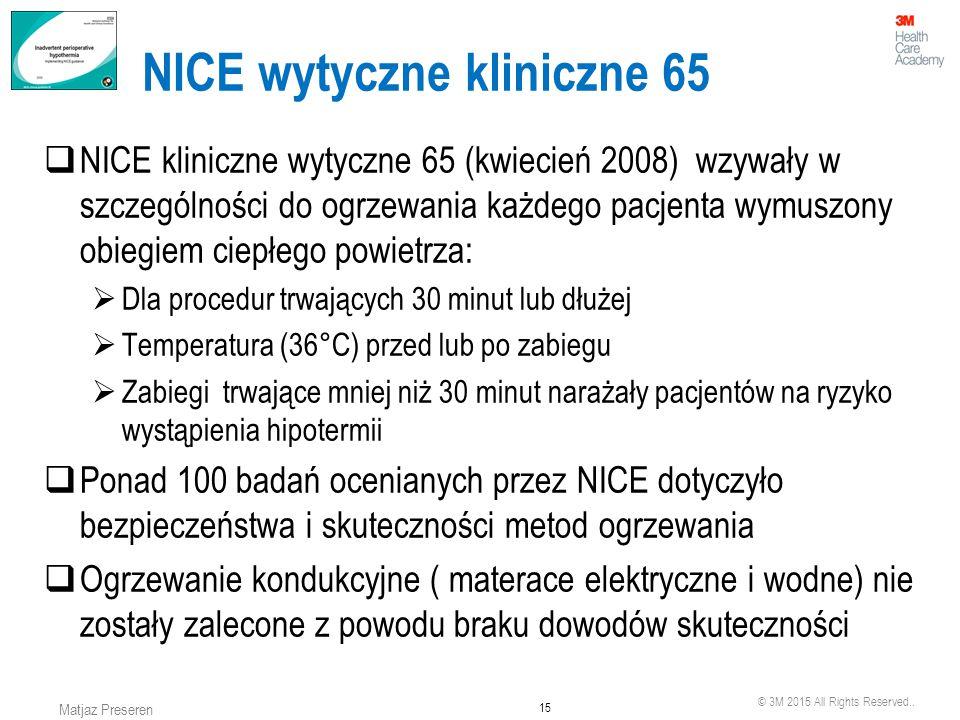 © 3M 2015 All Rights Reserved.. 15 Matjaz Preseren NICE wytyczne kliniczne 65  NICE kliniczne wytyczne 65 (kwiecień 2008) wzywały w szczególności do