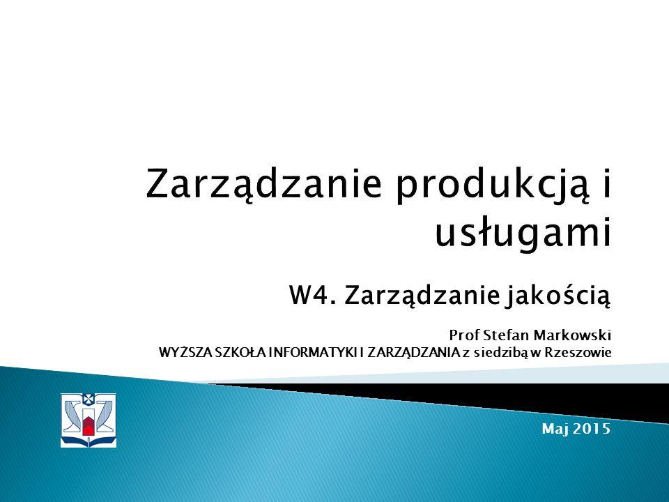  Cechy i jakośc produktu  Cechy i jakośc produktu: Optymalizacja niezawodności produktu  Projektowanie produktu  Badanie zdolnosci procesu produkcyjnego  Doskonalenie jakości procesów produkcyjnych: TQM Literatura ◦ Pajak r.