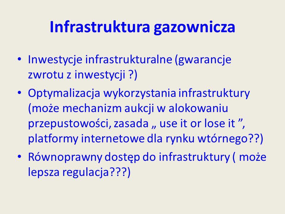 """Infrastruktura gazownicza Inwestycje infrastrukturalne (gwarancje zwrotu z inwestycji ?) Optymalizacja wykorzystania infrastruktury (może mechanizm aukcji w alokowaniu przepustowości, zasada """" use it or lose it , platformy internetowe dla rynku wtórnego??) Równoprawny dostęp do infrastruktury ( może lepsza regulacja???)"""