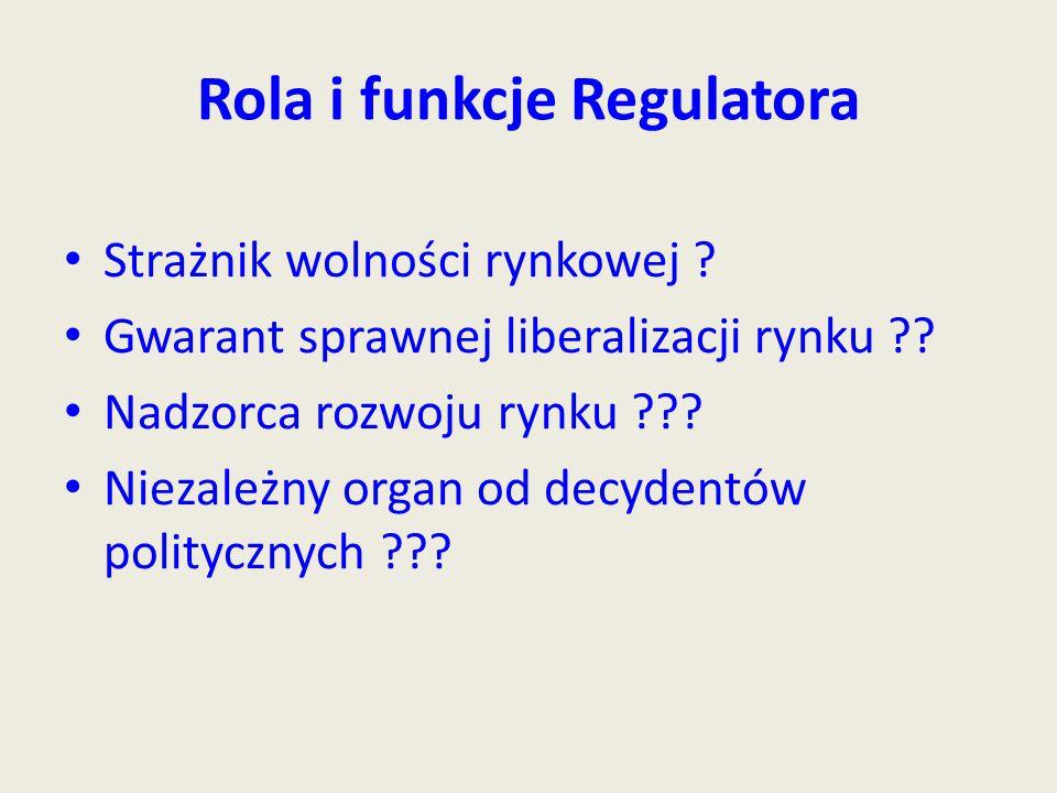 Rola i funkcje Regulatora Strażnik wolności rynkowej .