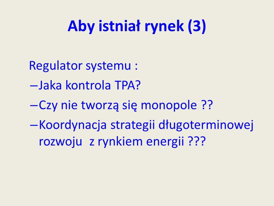 Aby istniał rynek (3) Regulator systemu : – Jaka kontrola TPA.