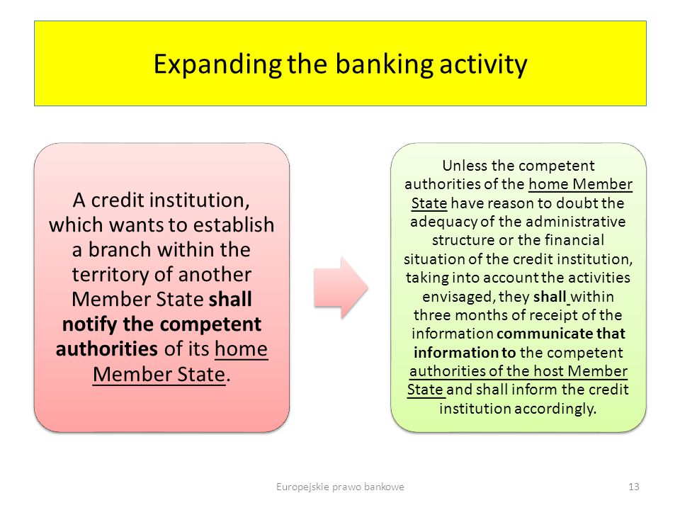 Expanding the banking activity A credit institution, which wants to establish a branch within the territory of another Member State shall notify the competent authorities of its home Member State.