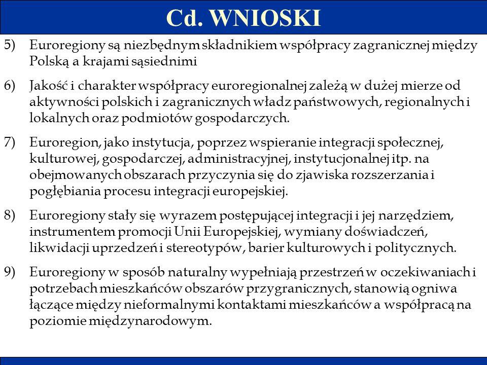 Cd. WNIOSKI 5)Euroregiony są niezbędnym składnikiem współpracy zagranicznej między Polską a krajami sąsiednimi 6)Jakość i charakter współpracy euroreg