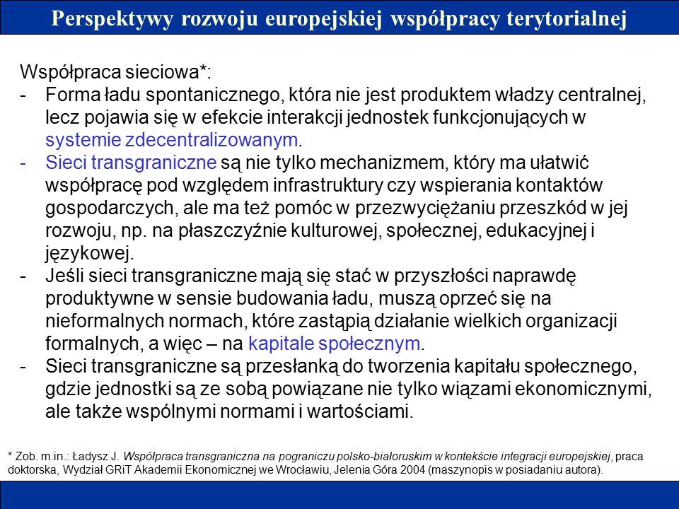 Perspektywy rozwoju europejskiej współpracy terytorialnej Współpraca sieciowa*: -Forma ładu spontanicznego, która nie jest produktem władzy centralnej