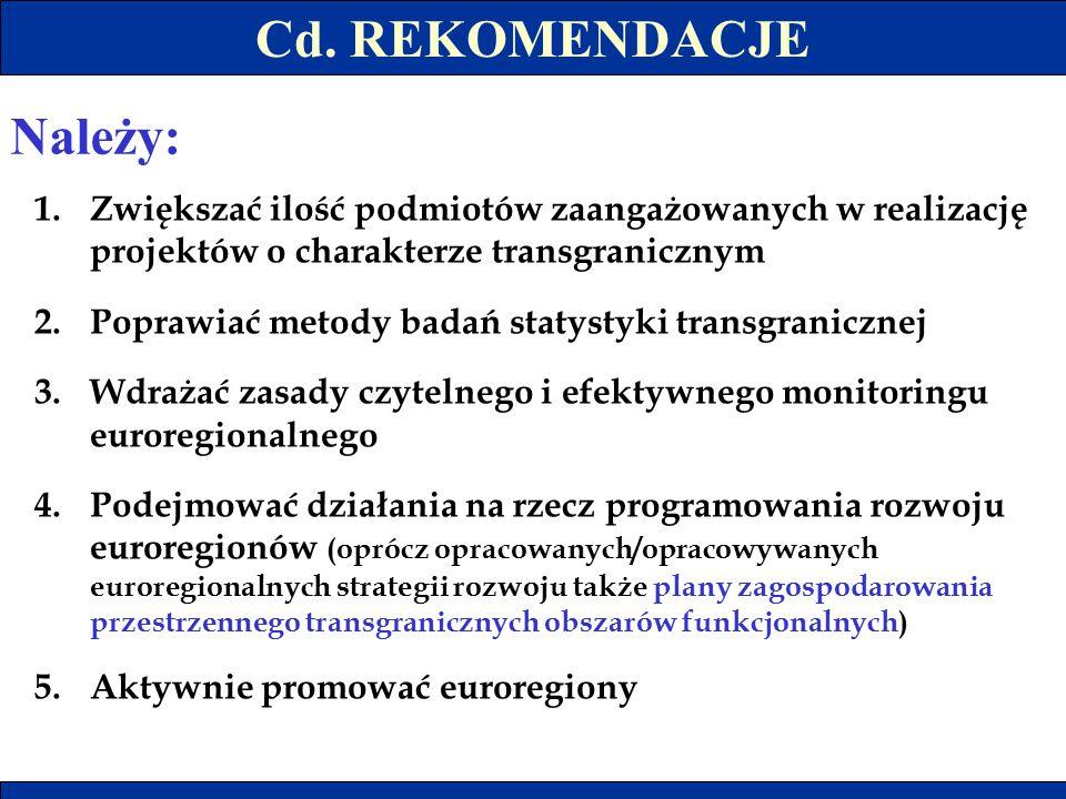 Cd. REKOMENDACJE 1.Zwiększać ilość podmiotów zaangażowanych w realizację projektów o charakterze transgranicznym 2.Poprawiać metody badań statystyki t