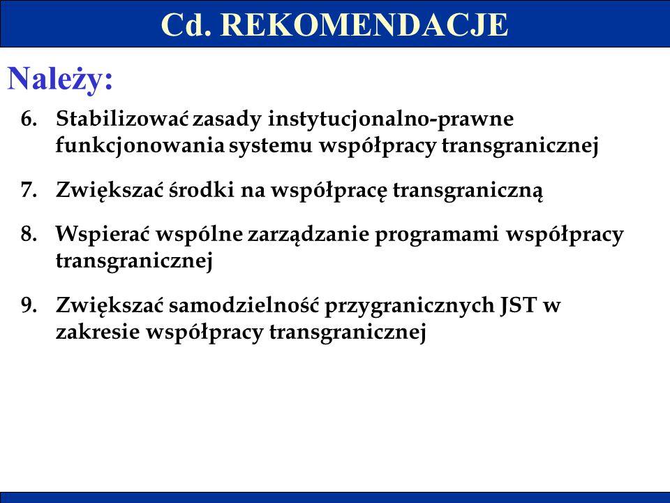 Cd. REKOMENDACJE Należy: 6.Stabilizować zasady instytucjonalno-prawne funkcjonowania systemu współpracy transgranicznej 7.Zwiększać środki na współpra