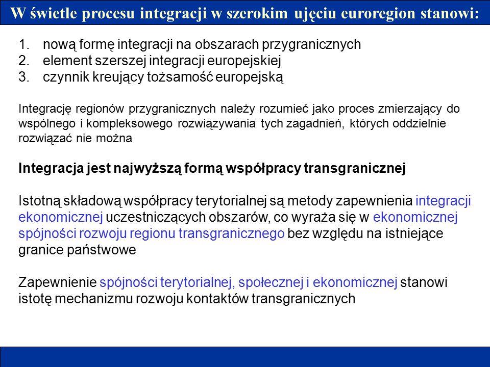 W świetle procesu integracji w szerokim ujęciu euroregion stanowi: 1.nową formę integracji na obszarach przygranicznych 2.element szerszej integracji