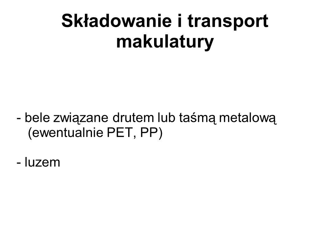 Składowanie i transport makulatury - bele związane drutem lub taśmą metalową (ewentualnie PET, PP) - luzem