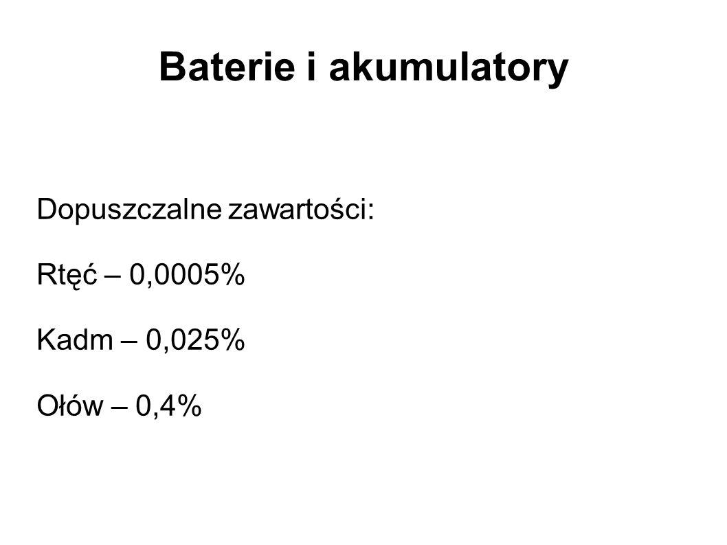 Baterie i akumulatory Dopuszczalne zawartości: Rtęć – 0,0005% Kadm – 0,025% Ołów – 0,4%