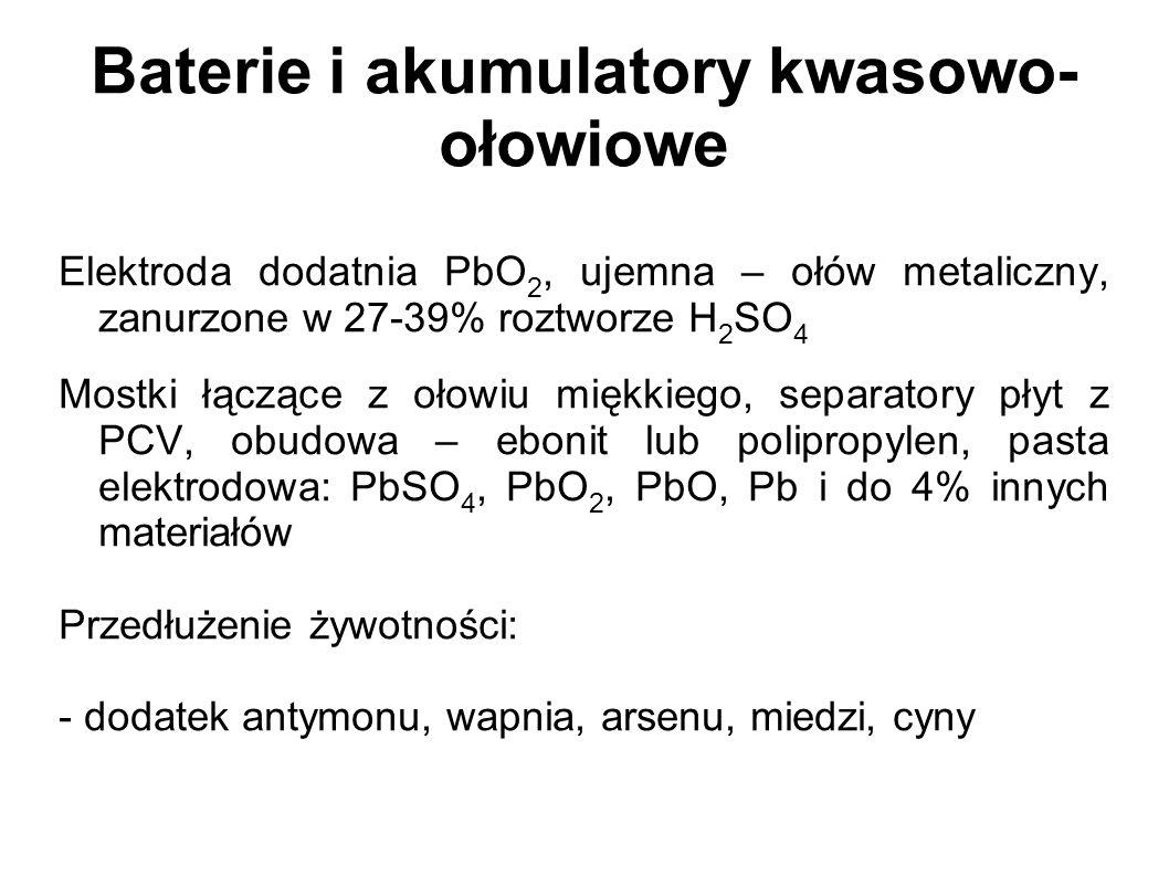 Baterie i akumulatory kwasowo- ołowiowe Elektroda dodatnia PbO 2, ujemna – ołów metaliczny, zanurzone w 27-39% roztworze H 2 SO 4 Mostki łączące z oło