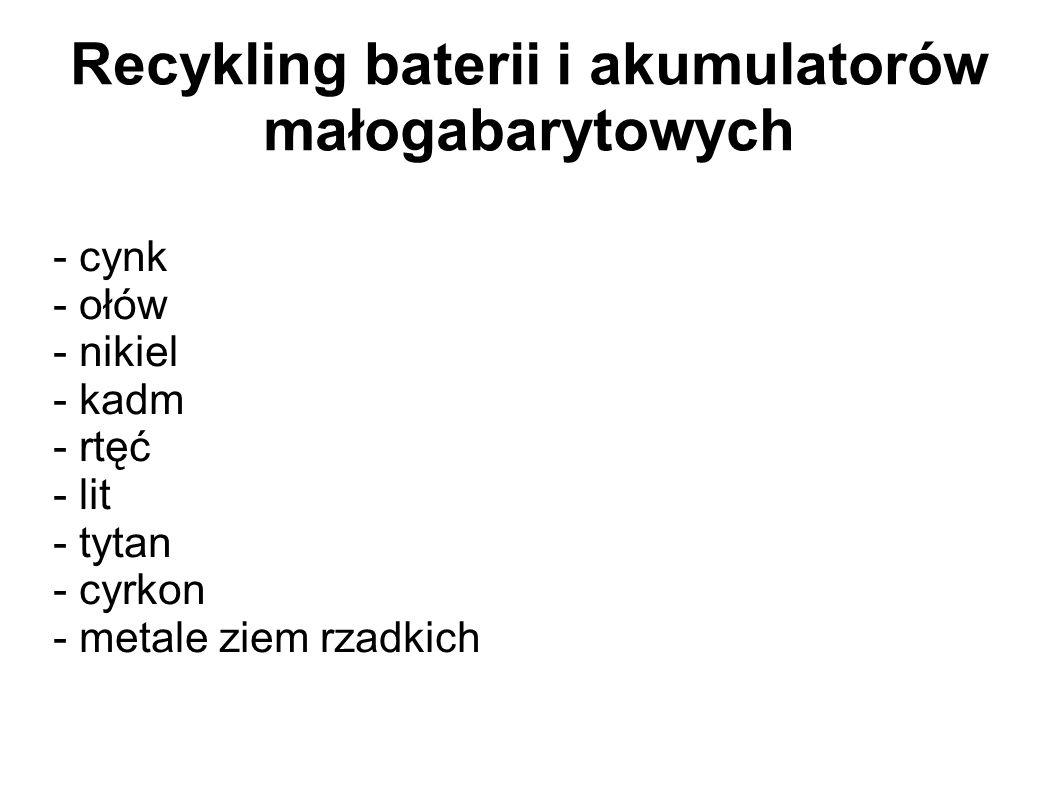 Recykling baterii i akumulatorów małogabarytowych - cynk - ołów - nikiel - kadm - rtęć - lit - tytan - cyrkon - metale ziem rzadkich