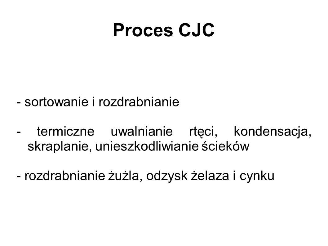 Proces CJC - sortowanie i rozdrabnianie - termiczne uwalnianie rtęci, kondensacja, skraplanie, unieszkodliwianie ścieków - rozdrabnianie żużla, odzysk