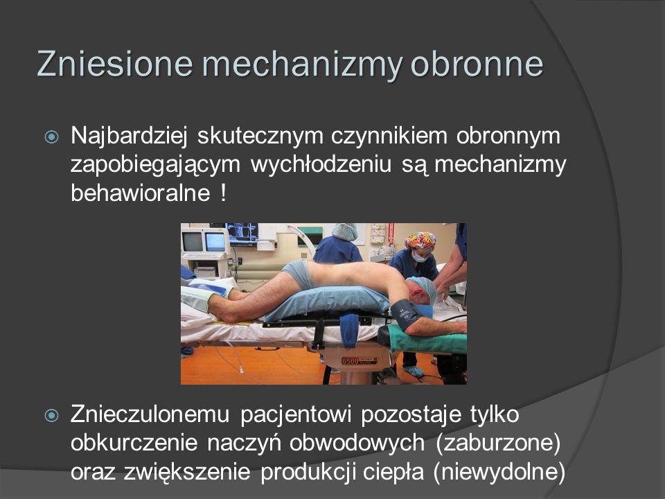 Zniesione mechanizmy obronne  Najbardziej skutecznym czynnikiem obronnym zapobiegającym wychłodzeniu są mechanizmy behawioralne !  Znieczulonemu pac