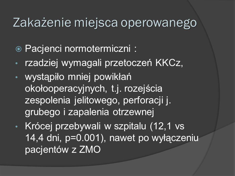 Zakażenie miejsca operowanego  Pacjenci normotermiczni : rzadziej wymagali przetoczeń KKCz, wystąpiło mniej powikłań okołooperacyjnych, t.j. rozejści