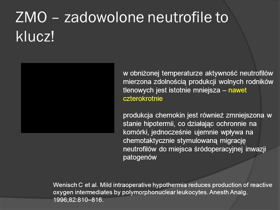 ZMO – zadowolone neutrofile to klucz! w obniżonej temperaturze aktywność neutrofilów mierzona zdolnością produkcji wolnych rodników tlenowych jest ist