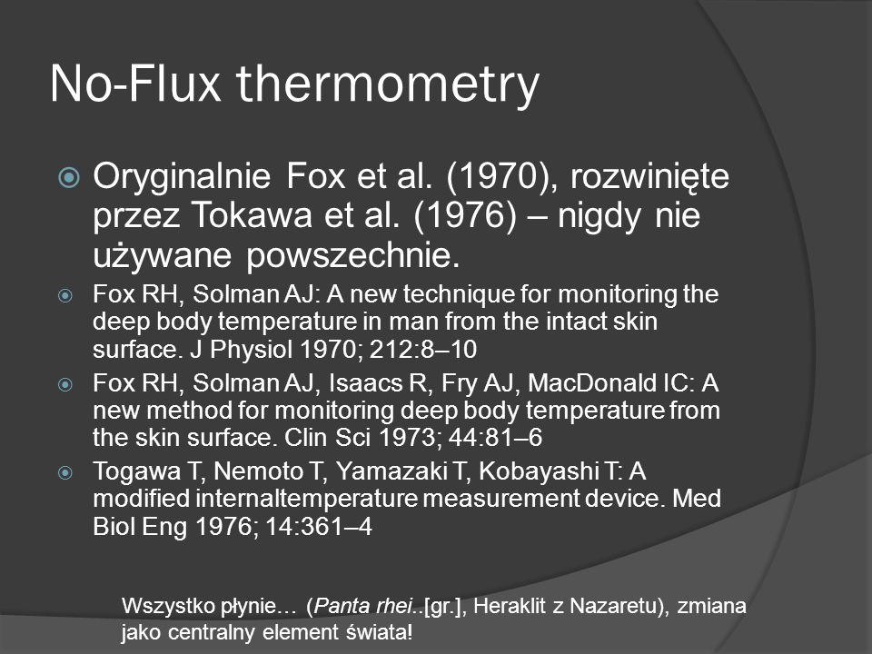 No-Flux thermometry  Oryginalnie Fox et al. (1970), rozwinięte przez Tokawa et al. (1976) – nigdy nie używane powszechnie.  Fox RH, Solman AJ: A new
