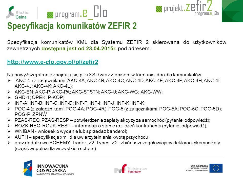 Specyfikacja komunikatów XML dla Systemu ZEFIR 2 skierowana do użytkowników zewnętrznych dostępna jest od 23.04.2015r. pod adresem: http://www.e-clo.g