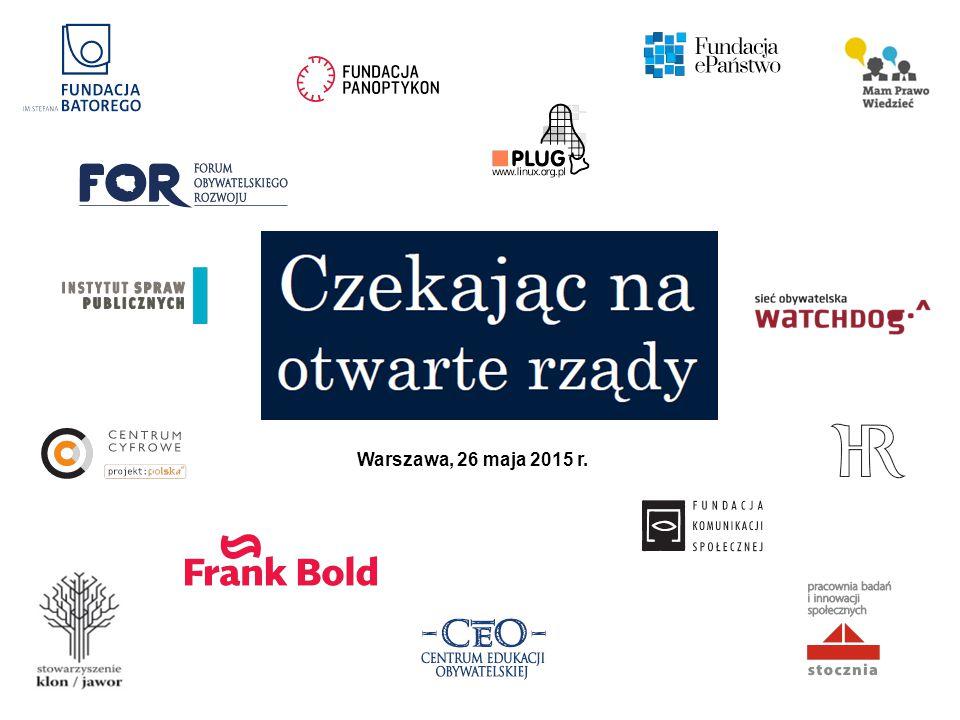 Koalicja na Rzecz Otwartego Rządu – KOR  Koalicja powstała w 2012, dziś skupia 15 organizacji działających i popierających wartości oraz cele wyrażane przez Partnerstwo na rzecz Otwartych Rządów.