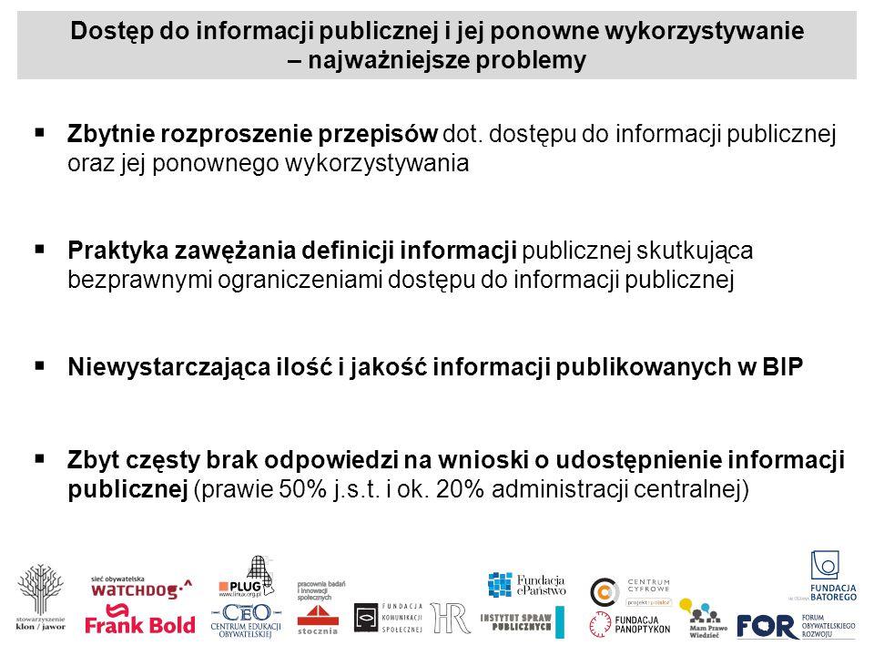Dostęp do informacji publicznej i jej ponowne wykorzystywanie – najważniejsze problemy  Zbytnie rozproszenie przepisów dot. dostępu do informacji pub