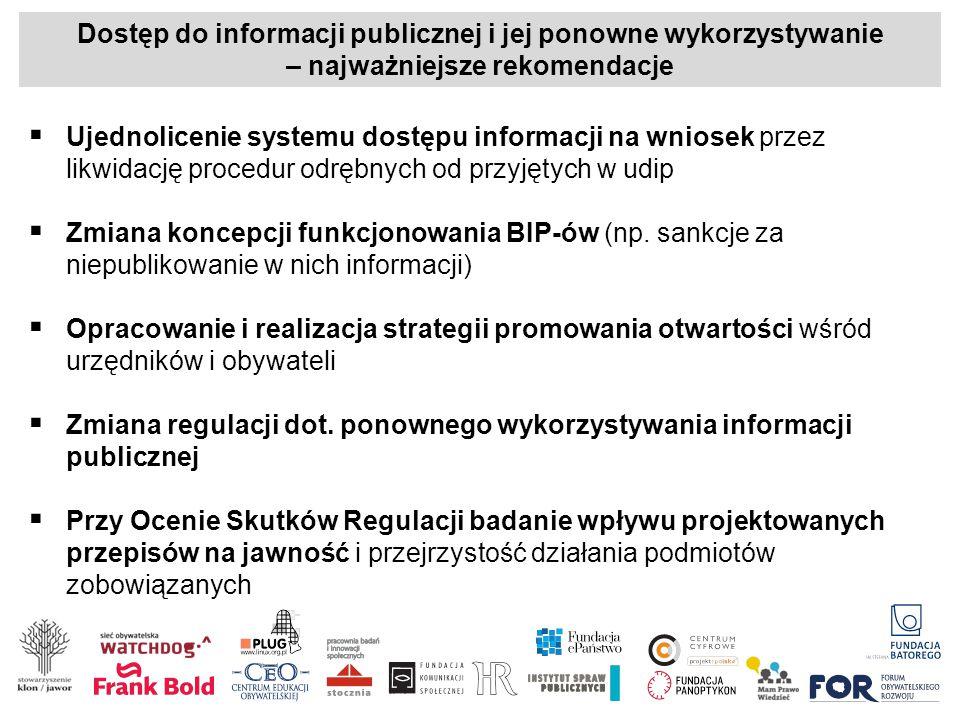 Dostęp do informacji publicznej i jej ponowne wykorzystywanie – najważniejsze rekomendacje  Ujednolicenie systemu dostępu informacji na wniosek przez likwidację procedur odrębnych od przyjętych w udip  Zmiana koncepcji funkcjonowania BIP-ów (np.