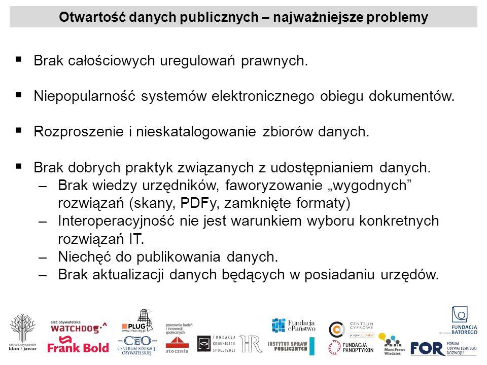 Otwartość danych publicznych – najważniejsze problemy  Brak całościowych uregulowań prawnych.  Niepopularność systemów elektronicznego obiegu dokume