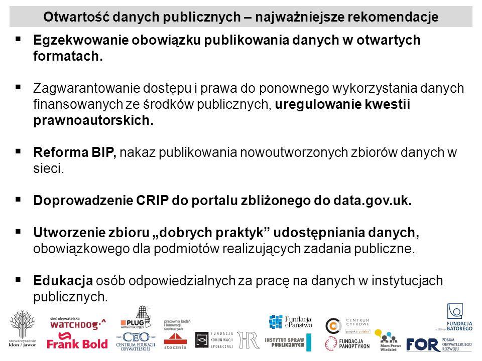 Otwartość danych publicznych – najważniejsze rekomendacje  Egzekwowanie obowiązku publikowania danych w otwartych formatach.  Zagwarantowanie dostęp