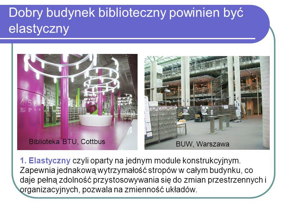 Dobry budynek biblioteczny powinien być elastyczny Biblioteka BTU, Cottbus BUW, Warszawa 1. Elastyczny czyli oparty na jednym module konstrukcyjnym. Z