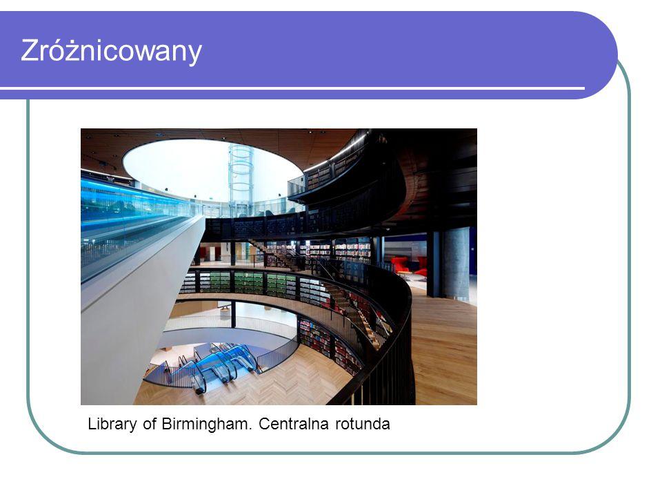 Zróżnicowany Library of Birmingham. Centralna rotunda