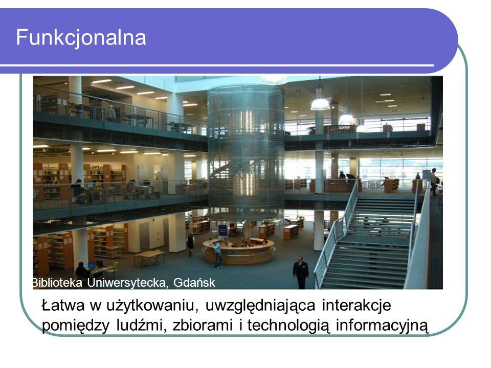 Funkcjonalna Biblioteka Uniwersytecka, Gdańsk Łatwa w użytkowaniu, uwzględniająca interakcje pomiędzy ludźmi, zbiorami i technologią informacyjną