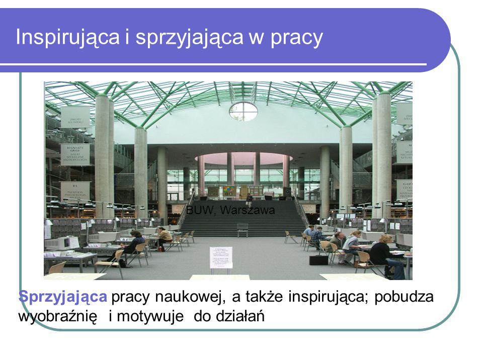 Inspirująca i sprzyjająca w pracy BUW, Warszawa Sprzyjająca pracy naukowej, a także inspirująca; pobudza wyobraźnię i motywuje do działań