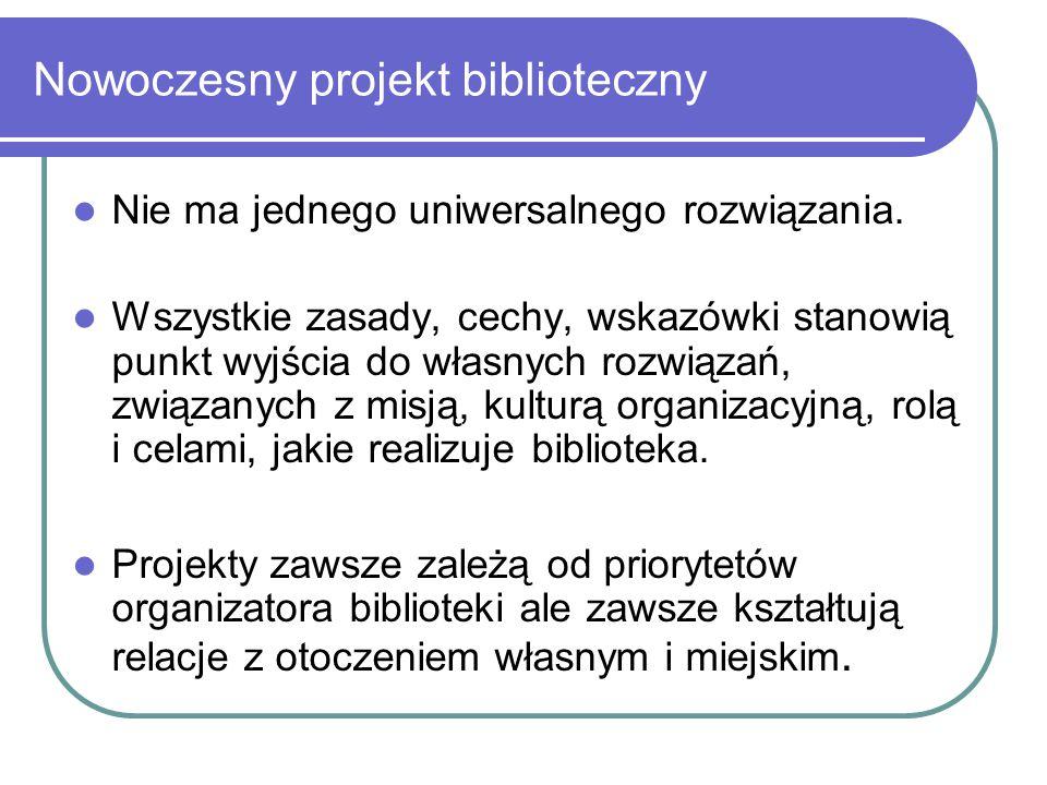Nowoczesny projekt biblioteczny Nie ma jednego uniwersalnego rozwiązania. Wszystkie zasady, cechy, wskazówki stanowią punkt wyjścia do własnych rozwią