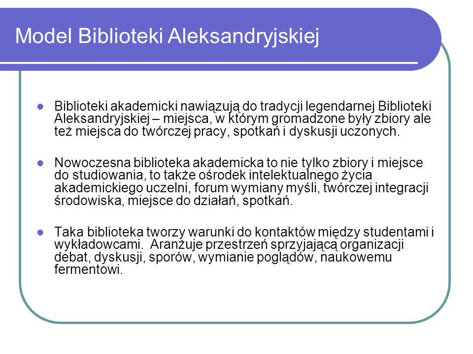Model Biblioteki Aleksandryjskiej Biblioteki akademicki nawiązują do tradycji legendarnej Biblioteki Aleksandryjskiej – miejsca, w którym gromadzone b