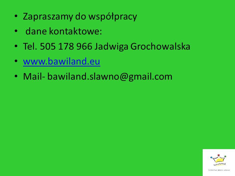 Zapraszamy do współpracy dane kontaktowe: Tel. 505 178 966 Jadwiga Grochowalska www.bawiland.eu Mail- bawiland.slawno@gmail.com