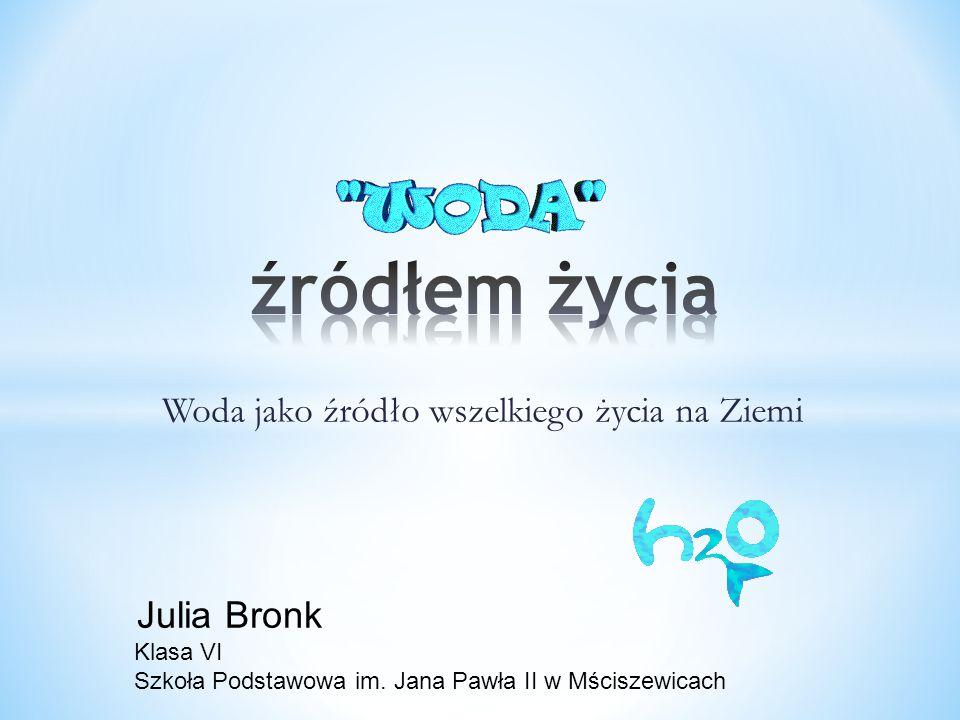 Woda jako źródło wszelkiego życia na Ziemi Julia Bronk Klasa VI Szkoła Podstawowa im. Jana Pawła II w Mściszewicach