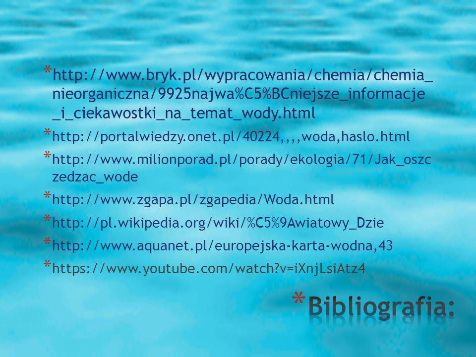 * http://www.bryk.pl/wypracowania/chemia/chemia_ nieorganiczna/9925najwa%C5%BCniejsze_informacje _i_ciekawostki_na_temat_wody.html * http://portalwiedzy.onet.pl/40224,,,,woda,haslo.html * http://www.milionporad.pl/porady/ekologia/71/Jak_oszc zedzac_wode * http://www.zgapa.pl/zgapedia/Woda.html * http://pl.wikipedia.org/wiki/%C5%9Awiatowy_Dzie * http://www.aquanet.pl/europejska-karta-wodna,43 * https://www.youtube.com/watch?v=iXnjLsiAtz4