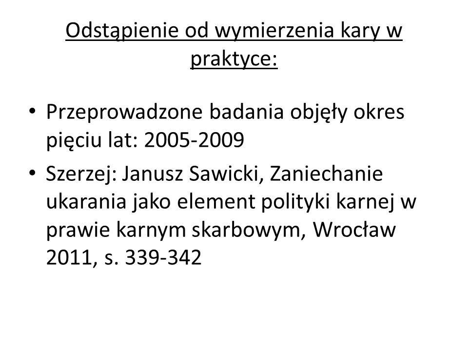Odstąpienie od wymierzenia kary w praktyce: Przeprowadzone badania objęły okres pięciu lat: 2005-2009 Szerzej: Janusz Sawicki, Zaniechanie ukarania ja