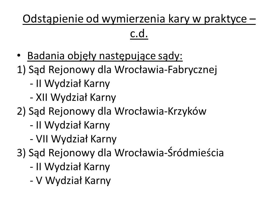 Odstąpienie od wymierzenia kary w praktyce – c.d. Badania objęły następujące sądy: 1) Sąd Rejonowy dla Wrocławia-Fabrycznej - II Wydział Karny - XII W
