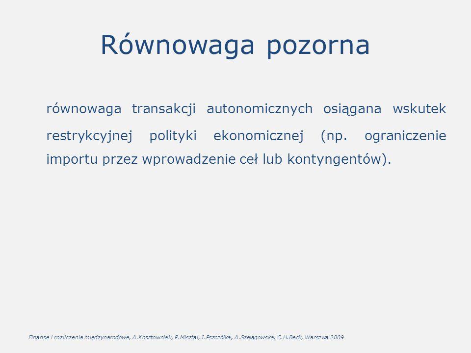Równowaga pozorna równowaga transakcji autonomicznych osiągana wskutek restrykcyjnej polityki ekonomicznej (np. ograniczenie importu przez wprowadzeni