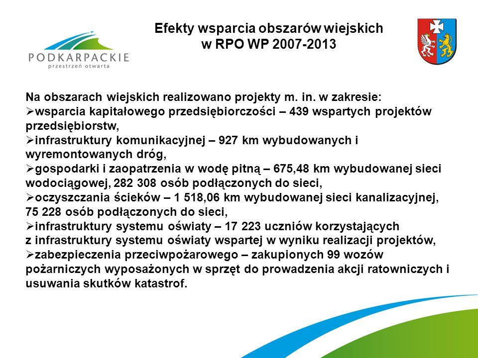 Efekty wsparcia obszarów wiejskich w RPO WP 2007-2013 Na obszarach wiejskich realizowano projekty m.