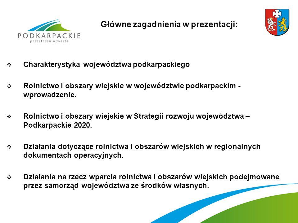  Charakterystyka województwa podkarpackiego  Rolnictwo i obszary wiejskie w województwie podkarpackim - wprowadzenie.