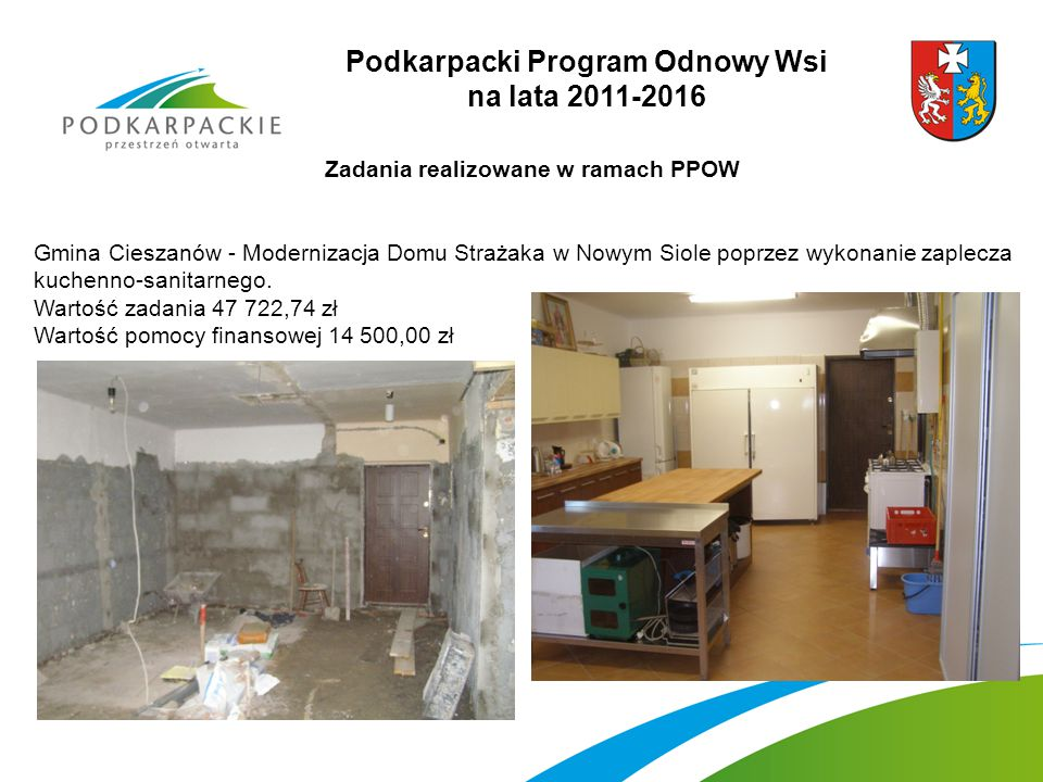 Podkarpacki Program Odnowy Wsi na lata 2011-2016 Zadania realizowane w ramach PPOW Gmina Cieszanów - Modernizacja Domu Strażaka w Nowym Siole poprzez wykonanie zaplecza kuchenno-sanitarnego.