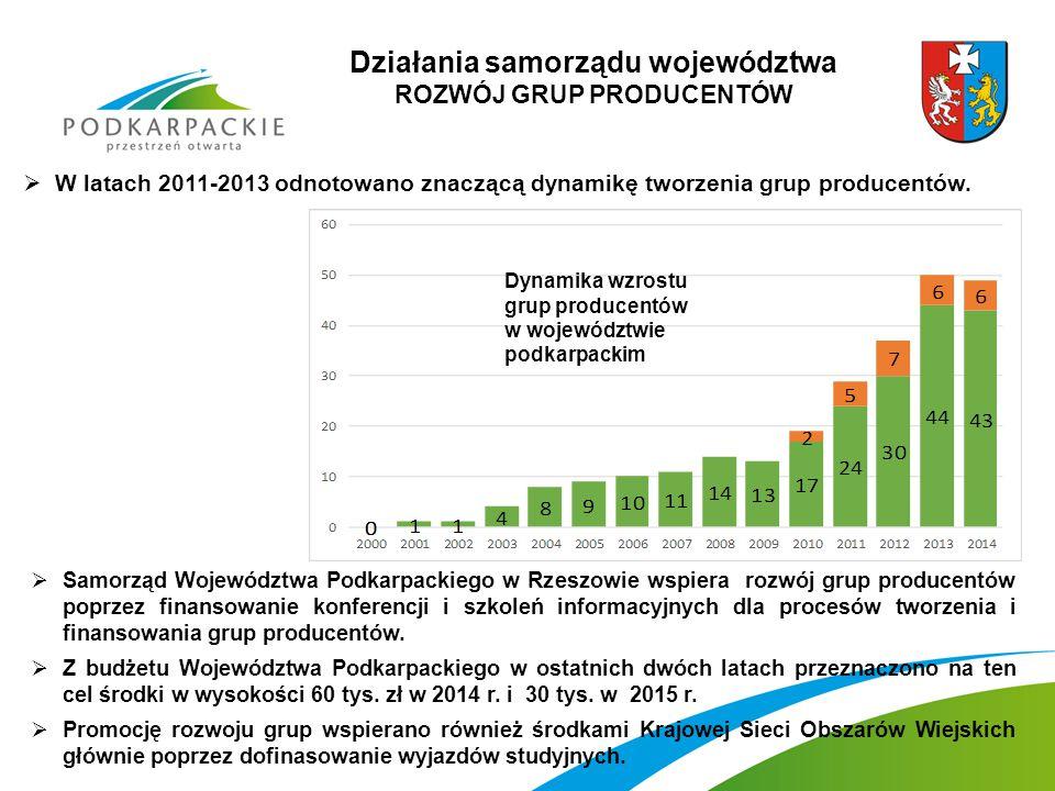 Działania samorządu województwa ROZWÓJ GRUP PRODUCENTÓW  W latach 2011-2013 odnotowano znaczącą dynamikę tworzenia grup producentów.