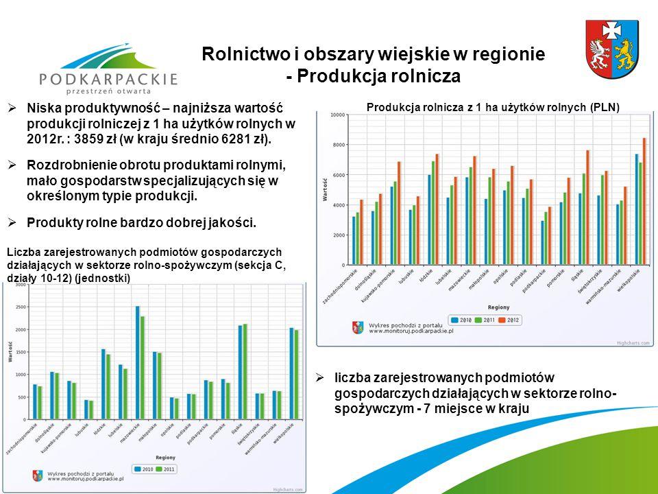 Rolnictwo i obszary wiejskie w regionie - Produkcja rolnicza Produkcja rolnicza z 1 ha użytków rolnych (PLN)  Niska produktywność – najniższa wartość produkcji rolniczej z 1 ha użytków rolnych w 2012r.
