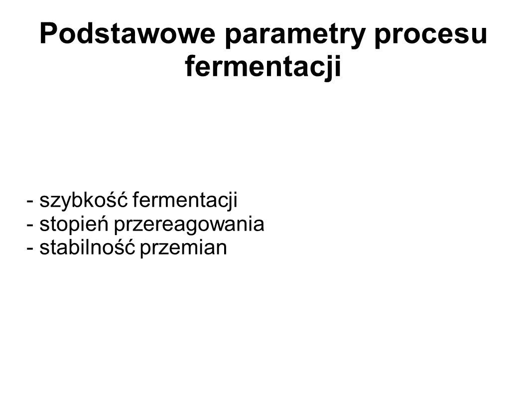 Podstawowe parametry procesu fermentacji - szybkość fermentacji - stopień przereagowania - stabilność przemian