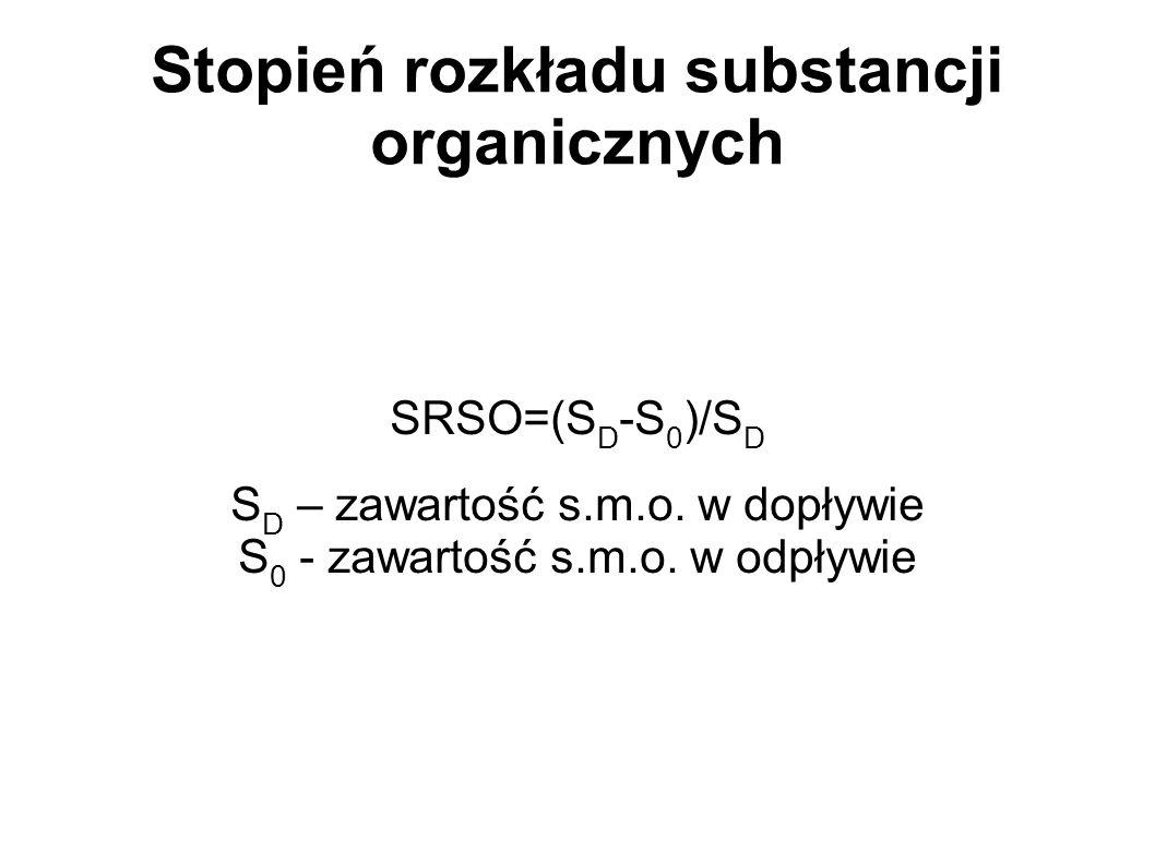 Stopień rozkładu substancji organicznych SRSO=(S D -S 0 )/S D S D – zawartość s.m.o. w dopływie S 0 - zawartość s.m.o. w odpływie
