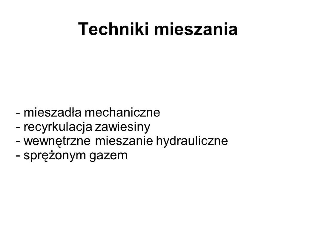 Techniki mieszania - mieszadła mechaniczne - recyrkulacja zawiesiny - wewnętrzne mieszanie hydrauliczne - sprężonym gazem