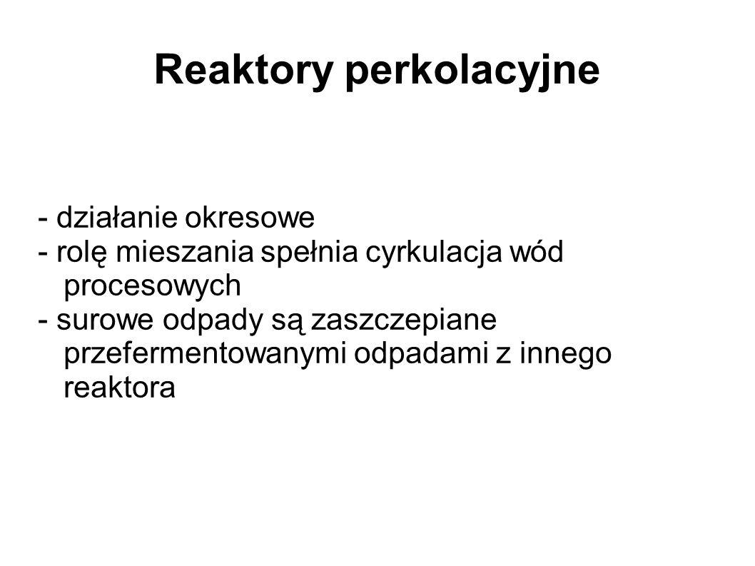 Reaktory perkolacyjne - działanie okresowe - rolę mieszania spełnia cyrkulacja wód procesowych - surowe odpady są zaszczepiane przefermentowanymi odpadami z innego reaktora