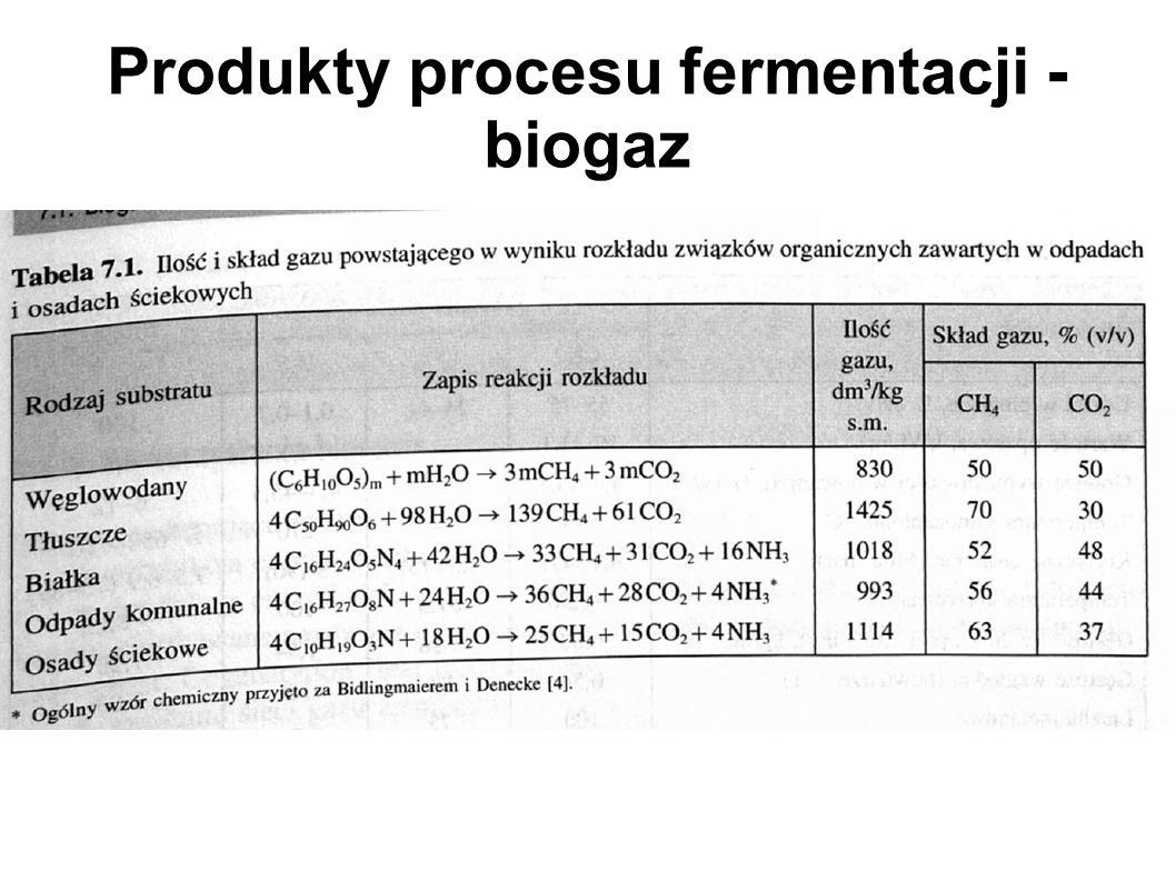 Produkty procesu fermentacji - biogaz